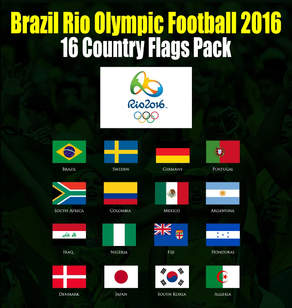 Brazil Rio Olympic 2016 Football Flags Pack