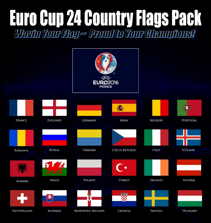 2016 European Football Flags Pack